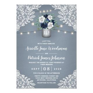 Dusty Blue Country White Lace Mason Jar Wedding Invitations