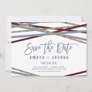 Dusty Blue & Cranberry Streamer Save the Date Card