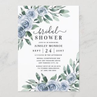 Dusty Blue Elegant Floral Boho Rose Bridal Shower Invitation