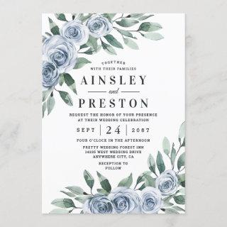 Dusty Blue Elegant Floral Boho Rose Rustic Wedding Invitation