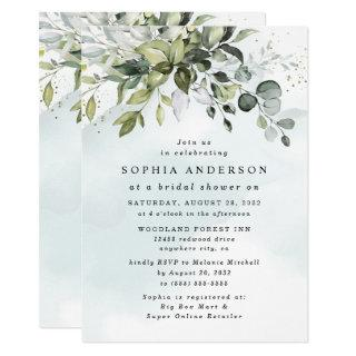 Dusty Blue Eucalyptus Greenery Boho Bridal Shower Invitations