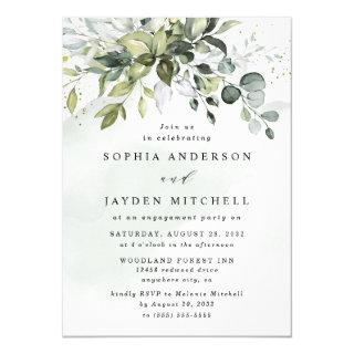 Dusty Blue Eucalyptus Greenery Engagement Party Invitation