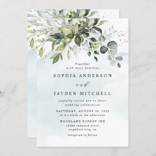 Dusty Blue Eucalyptus Greenery Succulent Wedding Invitations