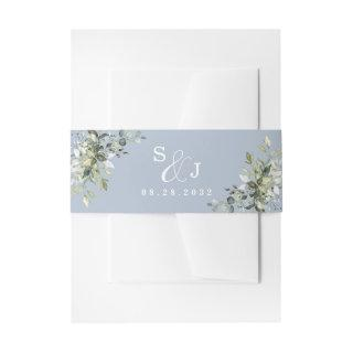 Dusty Blue Eucalyptus Greenery Succulent Wedding Invitations Belly Band