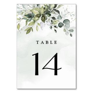 Dusty Blue Eucalyptus Greenery Succulent Wedding Table Number