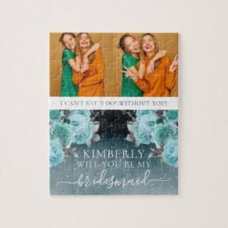 Dusty Blue Floral Be My Bridesmaid Photo Jigsaw Puzzle