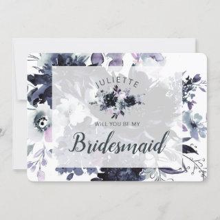 Dusty Blue Floral Be My Bridesmaid Proposal Card