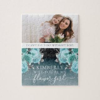 Dusty Blue Floral Be My Flower Girl Photo Jigsaw Puzzle