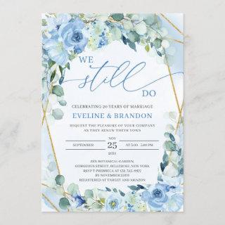 Dusty Blue Floral Gold Geometric Vow Renewal