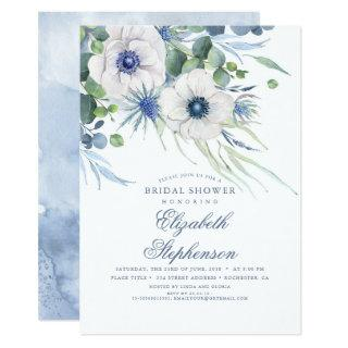 Dusty Blue Floral Greenery Modern Bridal Shower Invitations
