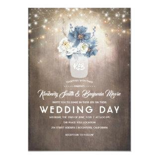 Dusty Blue Floral Mason Jar Rustic Country Wedding Invitations