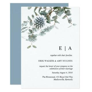 Dusty blue floral watercolor wedding Invitations