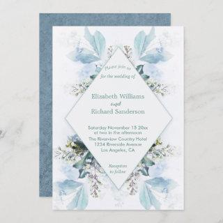Dusty Blue Floral Watercolor Wedding Invitation