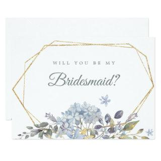 Dusty Blue Floral Will You Be My Bridesmaid Invitation