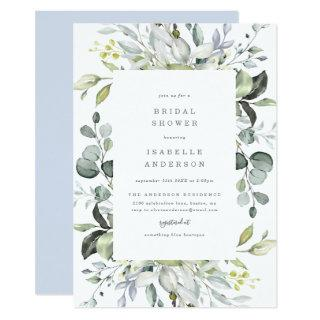 Dusty Blue Florals Bridal Shower Invitation