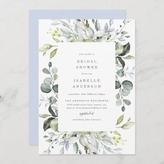 Dusty Blue Florals Bridal Shower Invitations