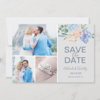Dusty Blue Florals   Gray 3 Photo Collage Save The Date