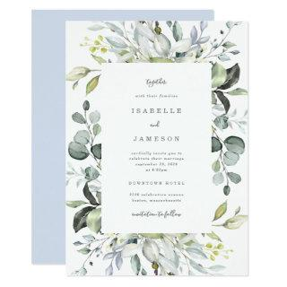 Dusty Blue Florals Wedding Invitations
