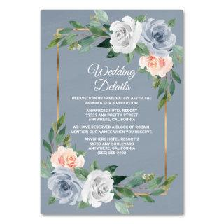 Dusty Blue Gold Blush Peach Wedding Insert Cards