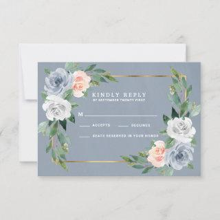 Dusty Blue Gold Blush Peach Wedding RSVP Cards
