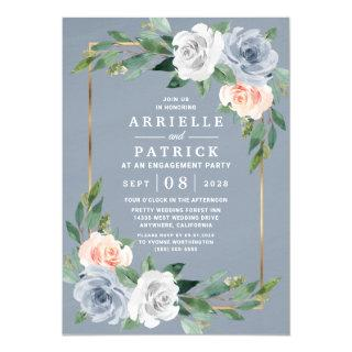 Dusty Blue Gold Blush Pink Peach Engagement Party Invitations
