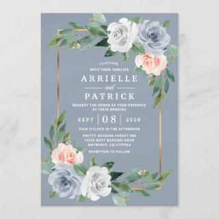 Dusty Blue Gold Blush Pink Peach Floral Wedding Invitations