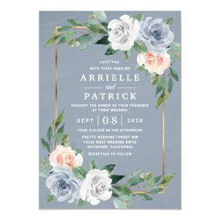 Dusty Blue Gold Blush Pink Peach Floral Wedding Invitation