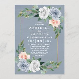Dusty Blue Gold Blush Pink Peach Rehearsal Dinner Invitations