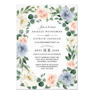 Dusty Blue Gray Blush Pink Peach Engagement Party Invitation