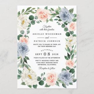 Dusty Blue Gray Blush Pink Peach Floral Wedding Invitation