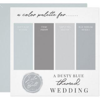 Dusty Blue & Gray Color Combination Palette Card