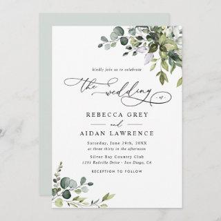 Dusty Blue Green Eucalyptus Greenery Wedding Invitations