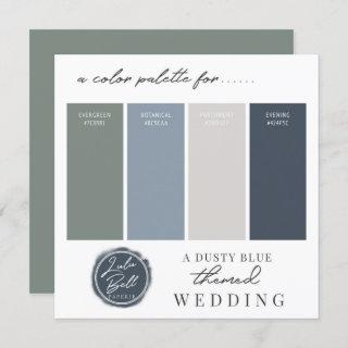 Dusty Blue Green Navy & Gray Color Palette Card