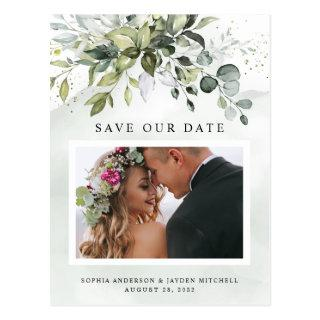 Dusty Blue Greenery Photo Wedding Save the Date Postcard