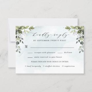 Dusty Blue Greenery  with Meal Choice Boho Wedding RSVP Card