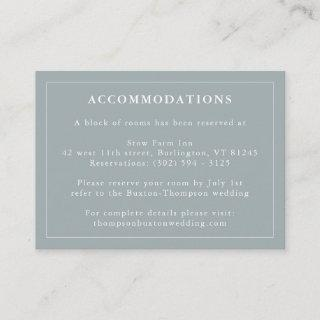 Dusty Blue Hotel Accommodation Information Enclosure Card
