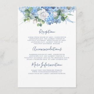 Dusty Blue Hydrangea Wedding Details Information Enclosure Card