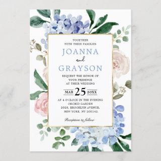 Dusty blue hydrangeas pastel pink roses wedding Invitations