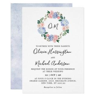 Dusty blue hydrangeas pastel pink roses wedding invitation