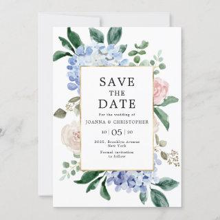 Dusty blue hydrangeas pastel pink roses wedding save the date