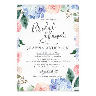 Dusty blue hydrangeas pink roses Bridal Shower Invitation