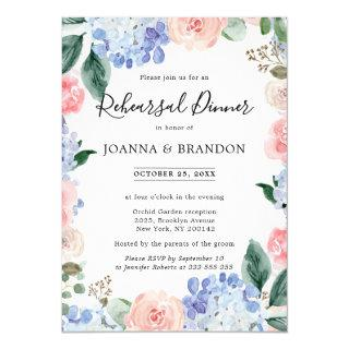 Dusty blue hydrangeas pink roses rehearsal dinner Invitations