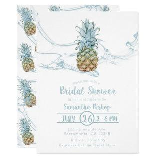 Dusty Blue Juicy Pineapple Summer Bridal Shower Invitation