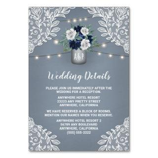 Dusty Blue Lace Mason Jar Wedding Enclosure Cards