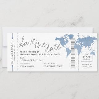 Dusty Blue Map Boarding Pass Ticket Save the Date