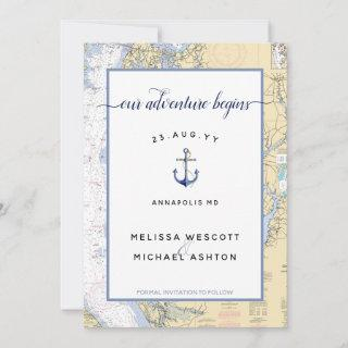 Dusty Blue Maryland Nautical Chart Anchor Wedding Save The Date