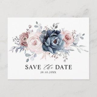 Dusty Blue Mauve Rose Pink Floral Save the Date Postcard