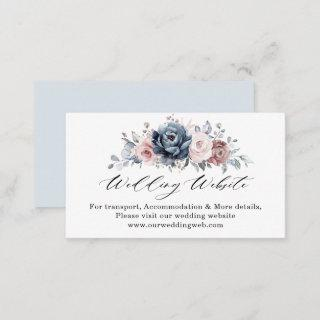 Dusty Blue Mauve Rose Pink Slate Wedding Website Enclosure Card