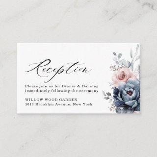 Dusty Blue Navy Champagne Ivory Floral Reception Enclosure Card