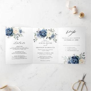 Dusty Blue Navy Champagne Ivory Floral  Tri-Fold A